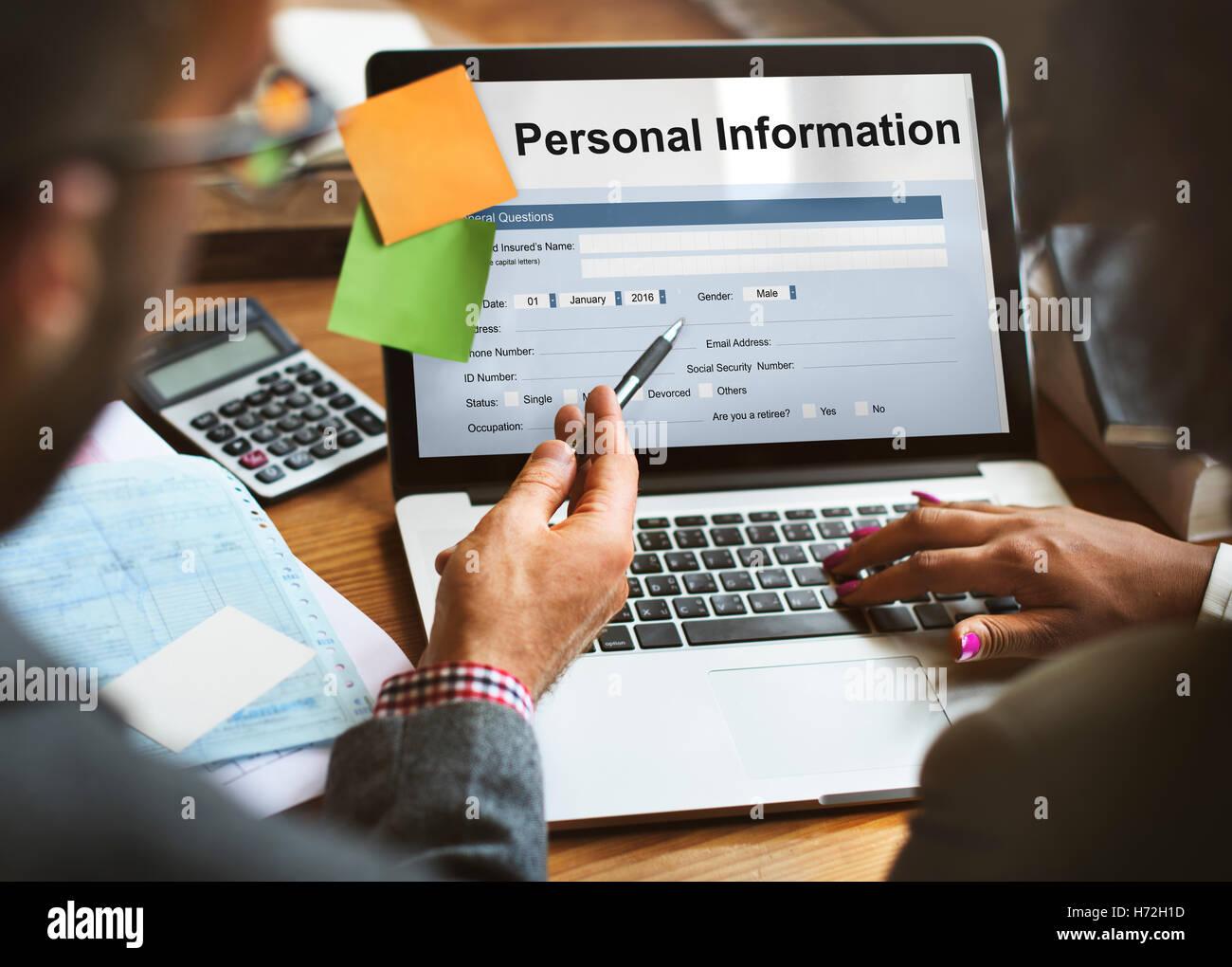 Persönliche Informationen-Form-Identity-Konzept Stockbild