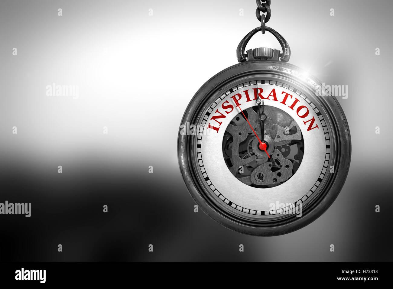 Inspiration auf Taschenuhr. 3D Illustration. Stockbild