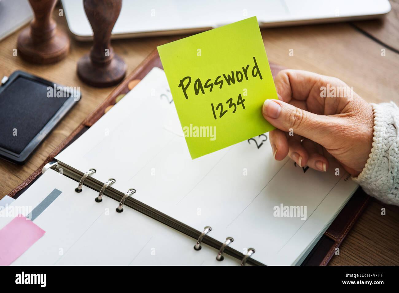 Passwort Schutz sicher Sicherheitskonzept Stockfoto