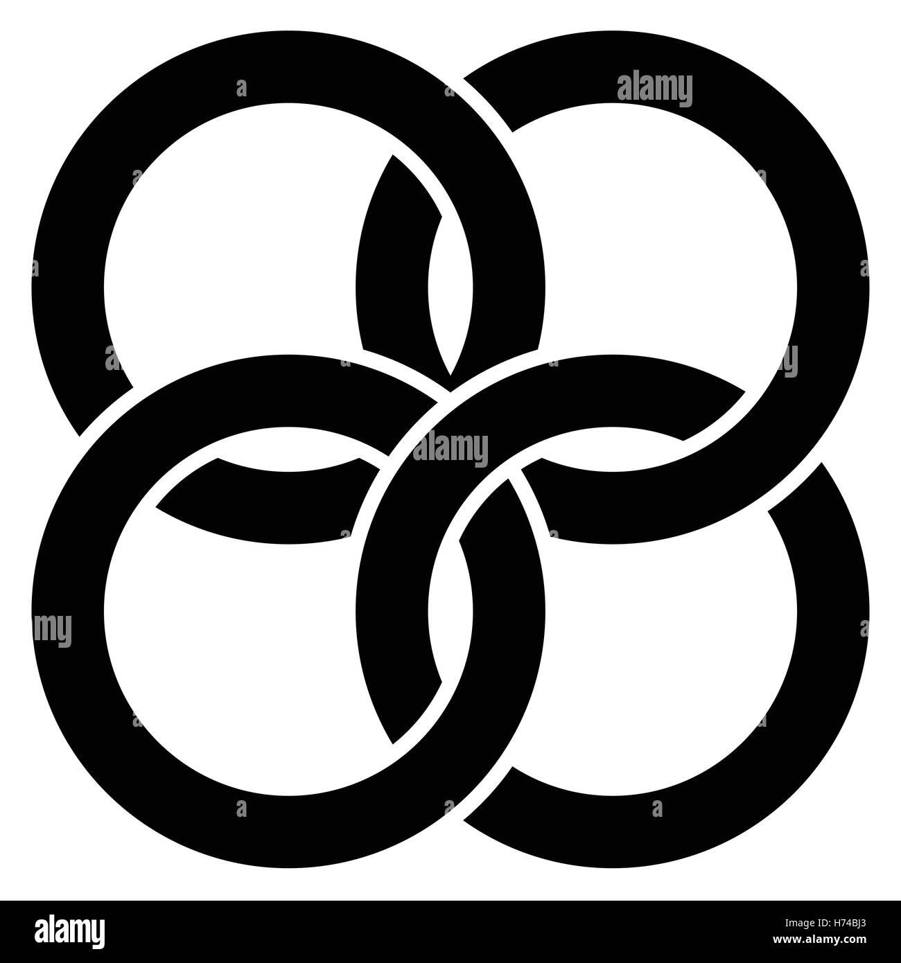 Ineinandergreifende Kreise, Ringe abstrakten Symbol ...