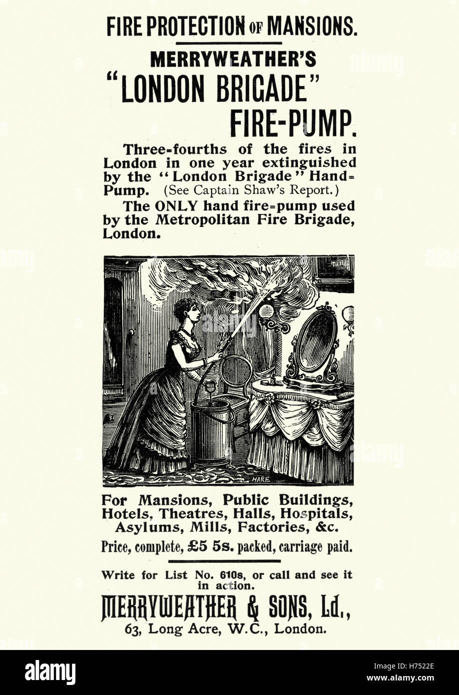 Viktorianische Werbung für Merryweather London Brigade Fire Pump. 1896 Stockbild