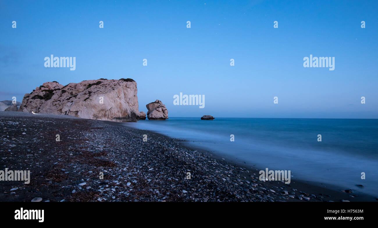 Felsen der Aphrodite oder Petra Romiou ist der Geburtsort des Gottes Schönheit Gebiet Paphos Zypern Stockbild