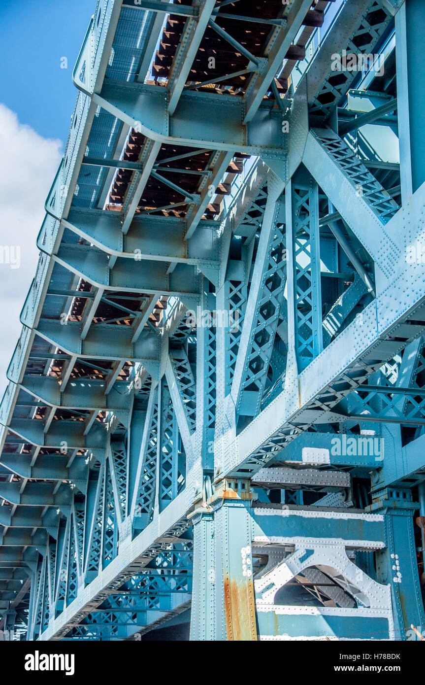Strukturelle Details der Benjamin Franklin Bridge in Philadelphia ...
