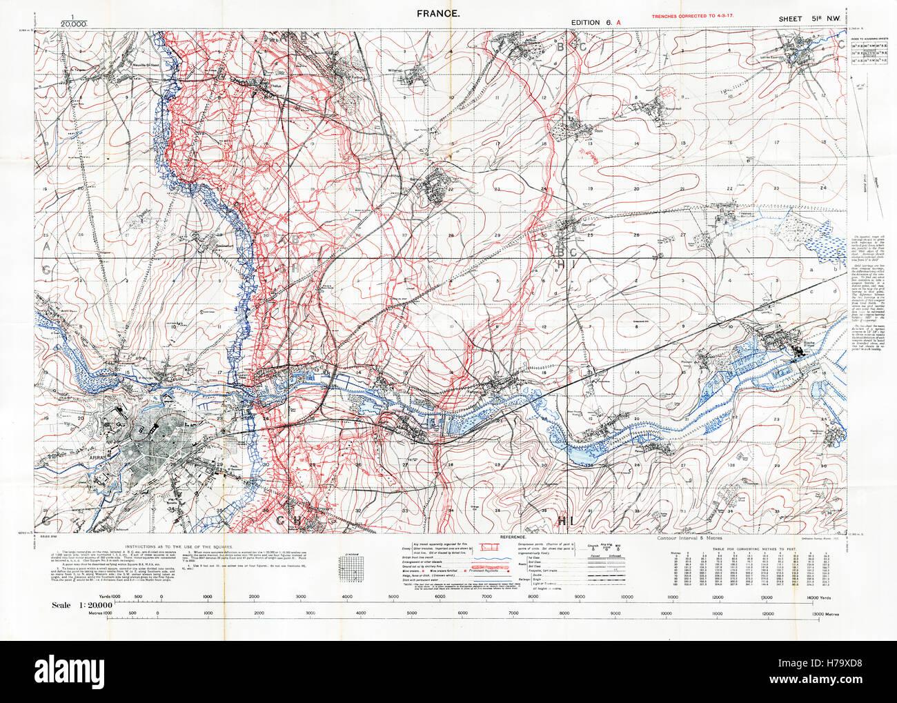 Nordfrankreich Karte.Schlachtfeld Sektorkarte Arras 1917 Edition 6a 1 20 000