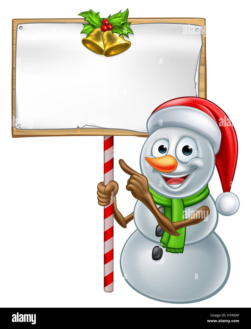 Weihnachten Schneemann Zeichentrickfigur in Nikolausmütze einem ...