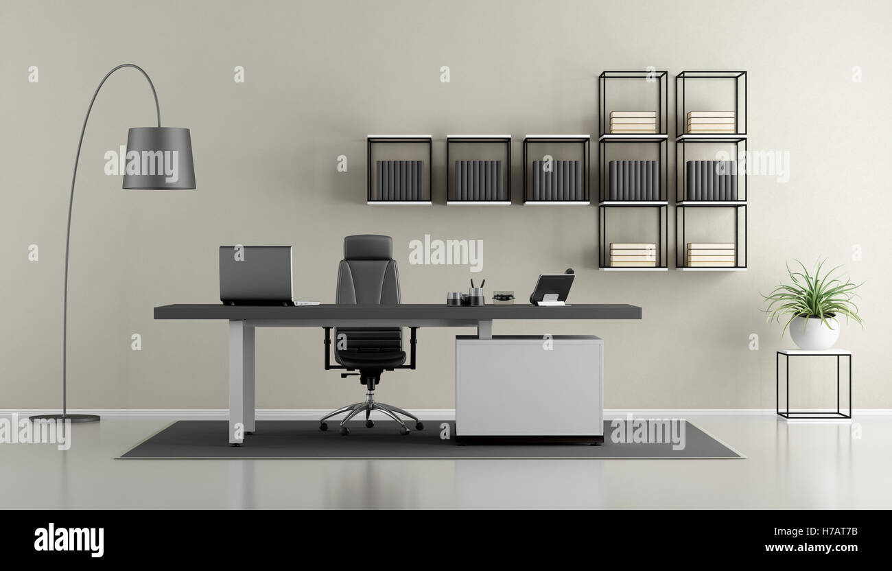 Contemporary Office Minimalist Furniture 3d Stockfotos ...