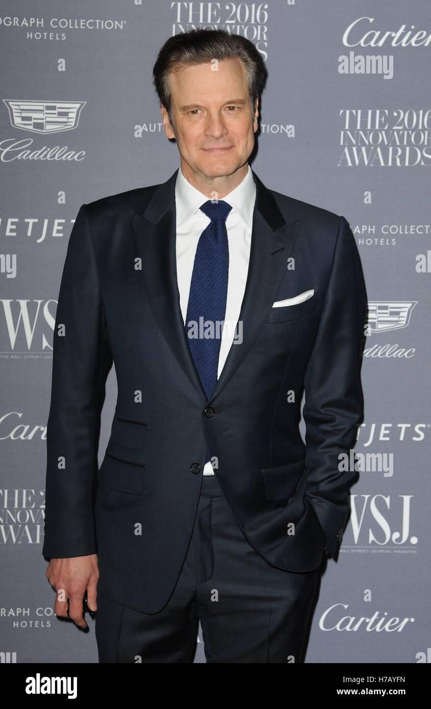 New York, NY, USA. 2. November 2016. Colin Firth im Ankunftsbereich für Frederique konstante uhrmacherische Smartwatch Stockfoto