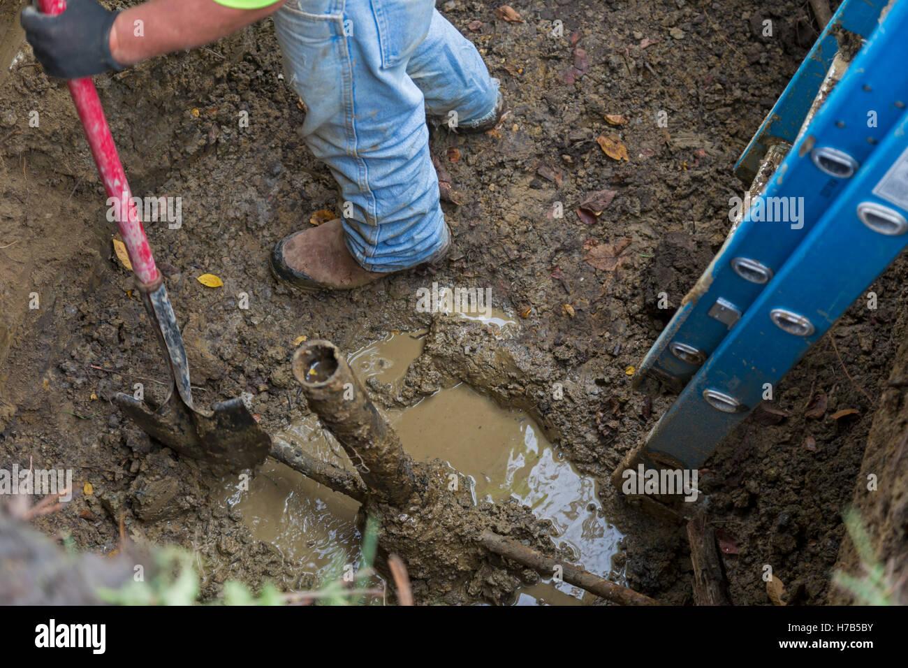 Flint, Michigan, USA. 3. November 2016. Großem Umfang Ersatz von Blei und verzinktem Stahl Service Wasserleitungen Stockbild