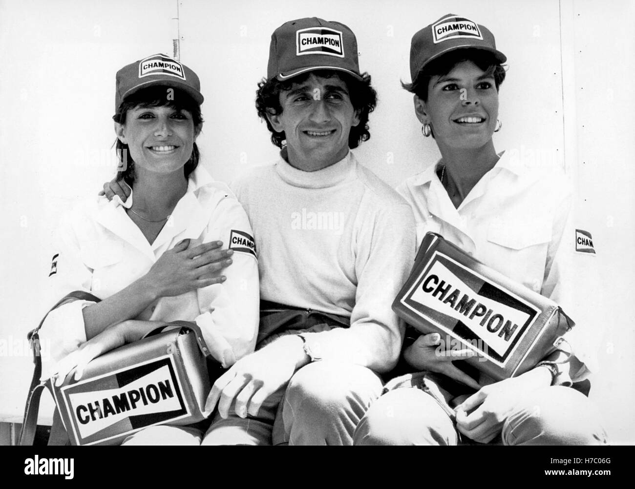 1985 Alain Prost Grid Girls Monaco Stockbild