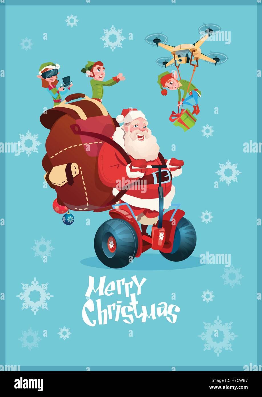 weihnachtsmann mit sack reiten segway elektroroller elf fliegen auf drone lieferung weihnachten. Black Bedroom Furniture Sets. Home Design Ideas