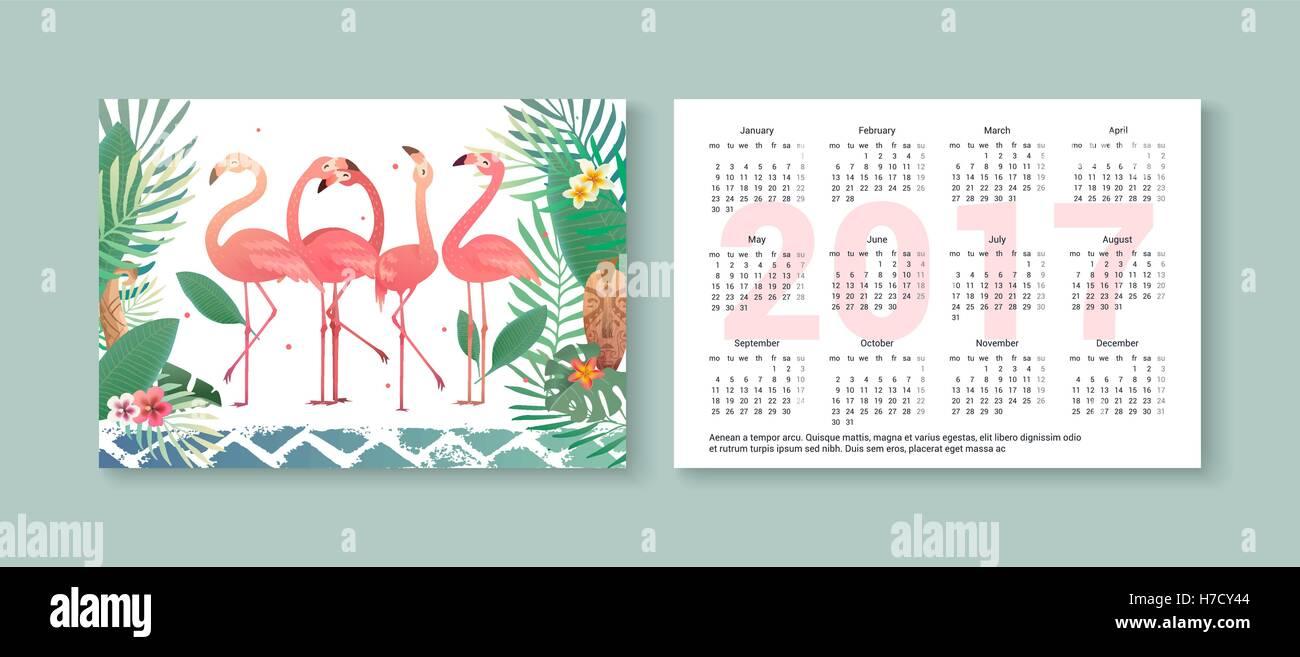 Taschenkalender 2017 mit Flamingos, Palmen und tropischen Blumen ...