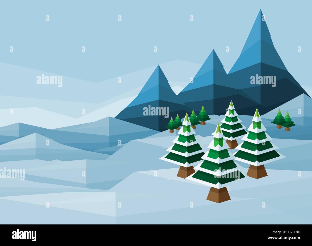 Abstarct Weihnachten Polygon Schnee Winter Wunderland Landschaft ...
