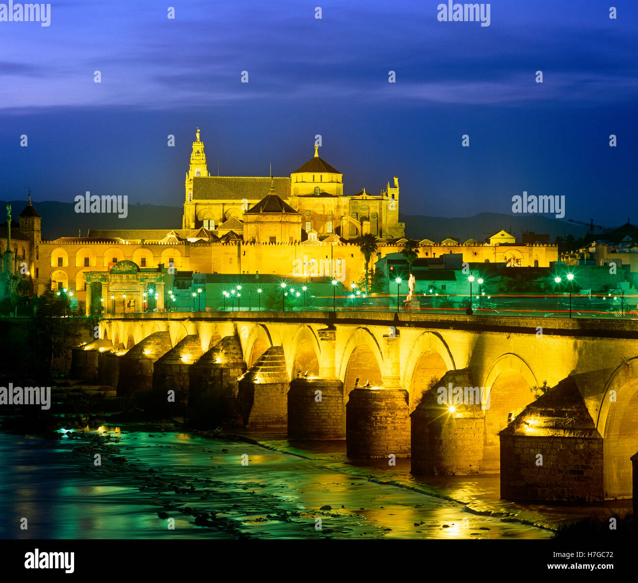 Die Kathedrale und die römische Brücke in der Nacht, Cordoba, Anadalucia, Spanien Stockbild