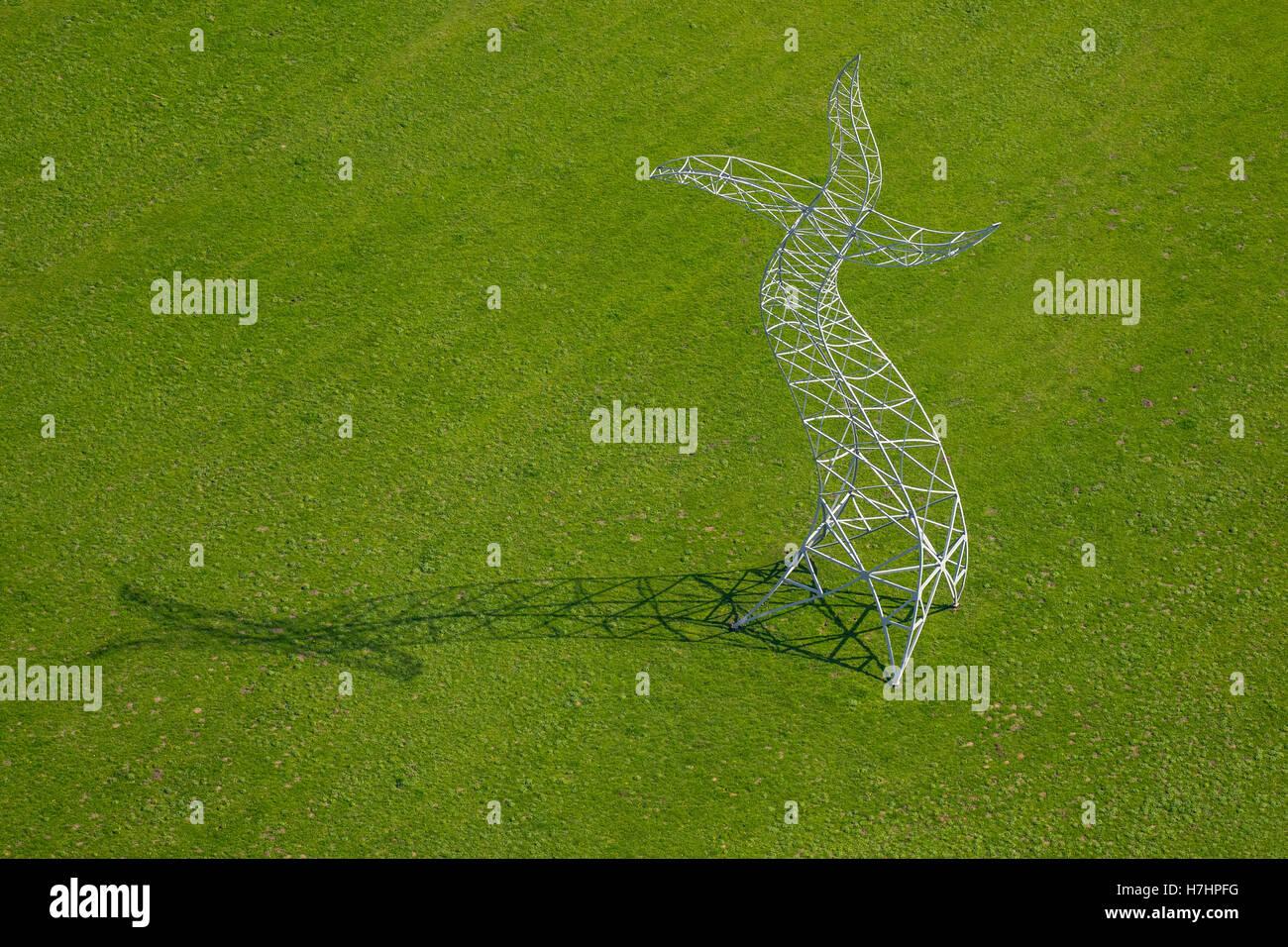 Zauberlehrling Skulptur, 2013 Installation tanzende elektrische Pylon, Emscher Kunst, Ines Idee Künstlergruppe, Stockbild