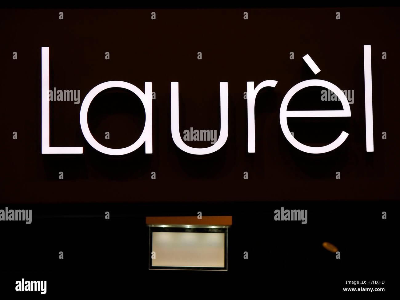 "Das Logo der Marke ""Laurel"", Berlin. Stockbild"