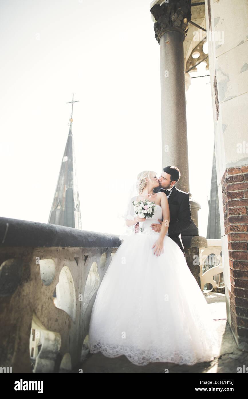 Küssende Brautpaar bleiben über schöne Landschaft Stockbild
