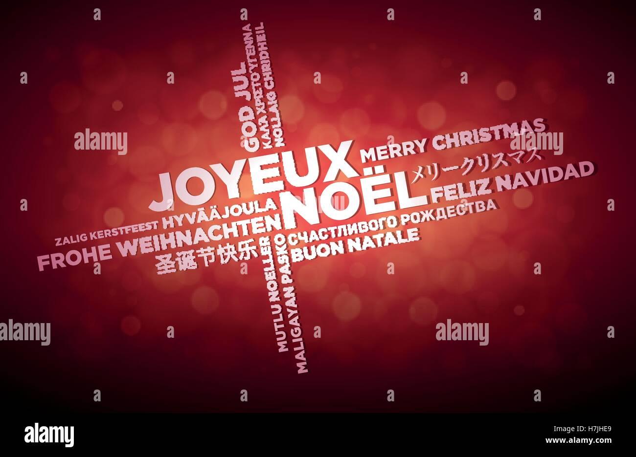 Multi-Sprache Frohe Weihnachten typografische Gestaltung ...