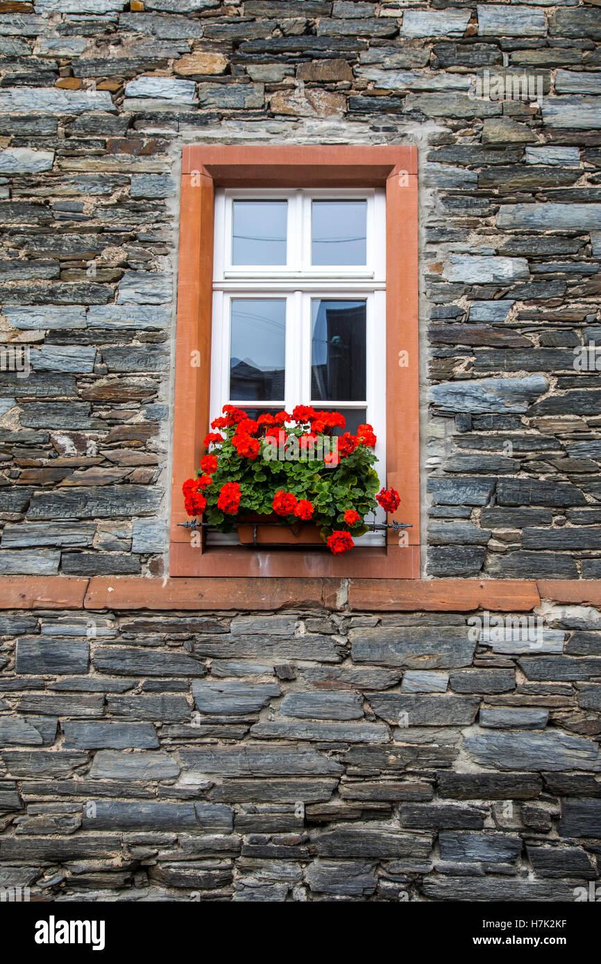 Stone Backsteingebäude, Fenster, Dekoration, Mosel Tal, typische ...