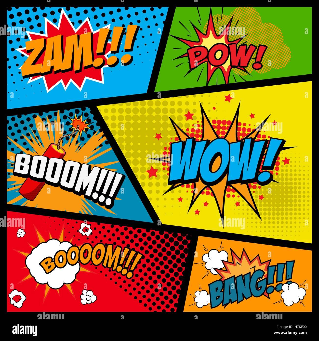 Comic-Stil-Sätze im Rahmen. Cartoon-Explosion. Zam. Kriegsgefangener ...