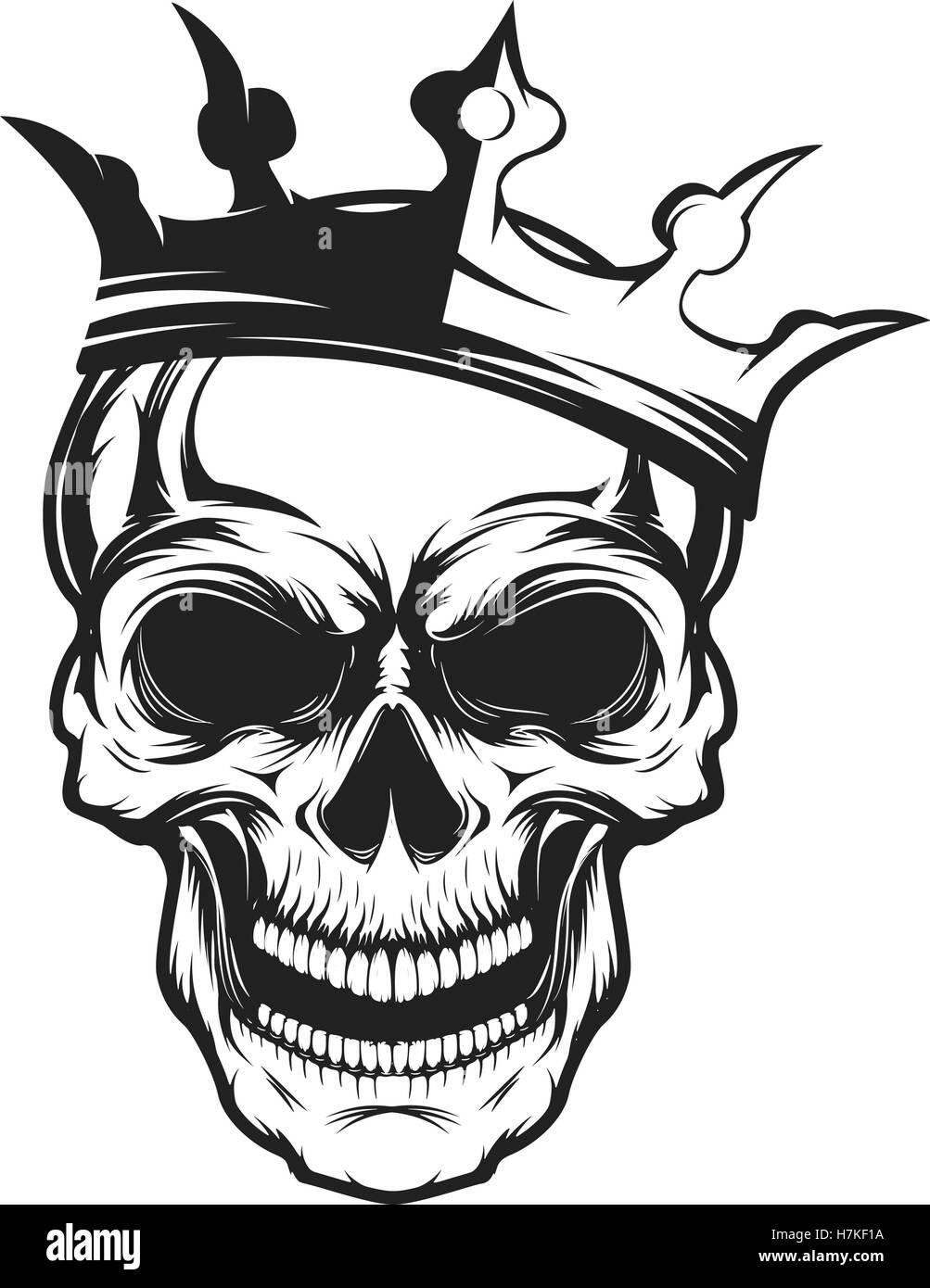 Totenkopf mit Krone. Gestaltungselement für Emblem, Abzeichen ...