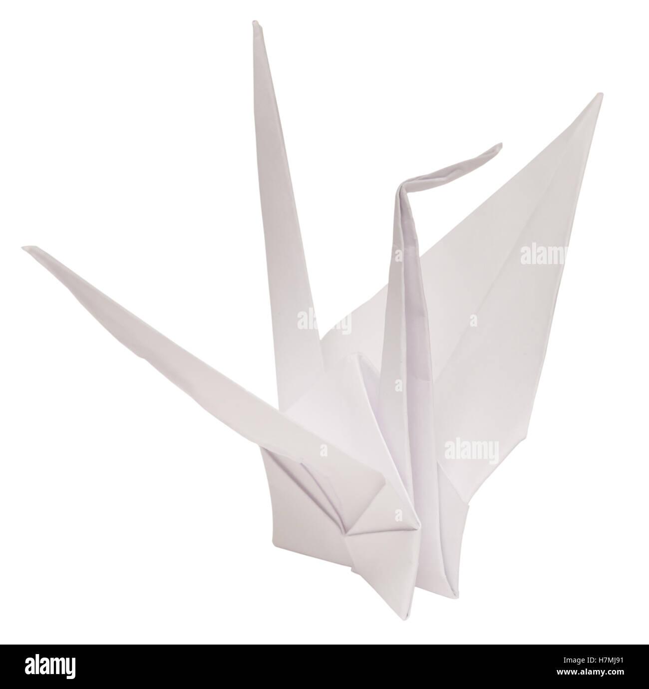 Origami Papier Kran isoliert auf weißem Hintergrund Stockbild