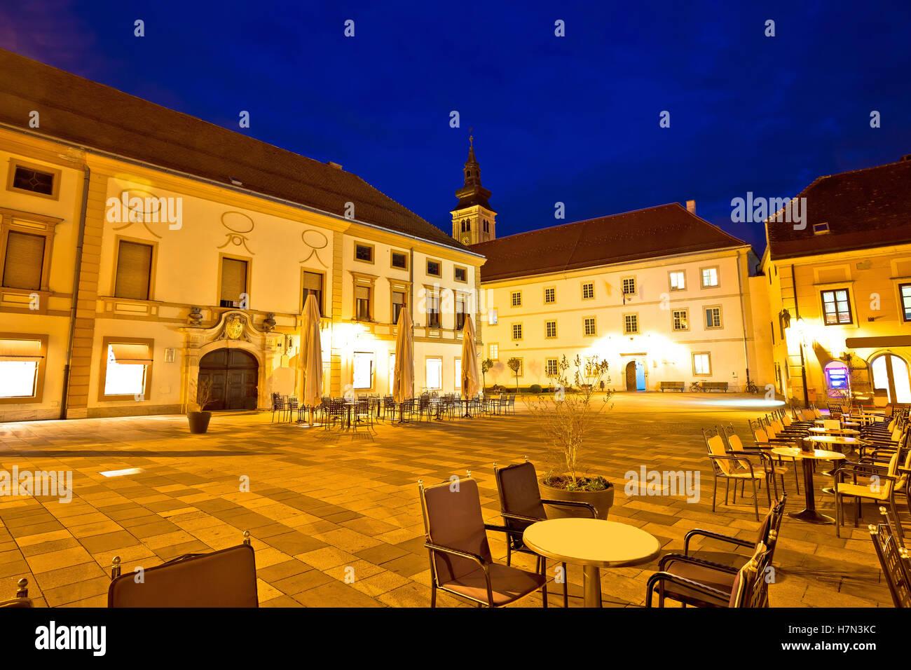 Varazdin barocken quadratische Abend Blick, Nordkroatien Stockbild