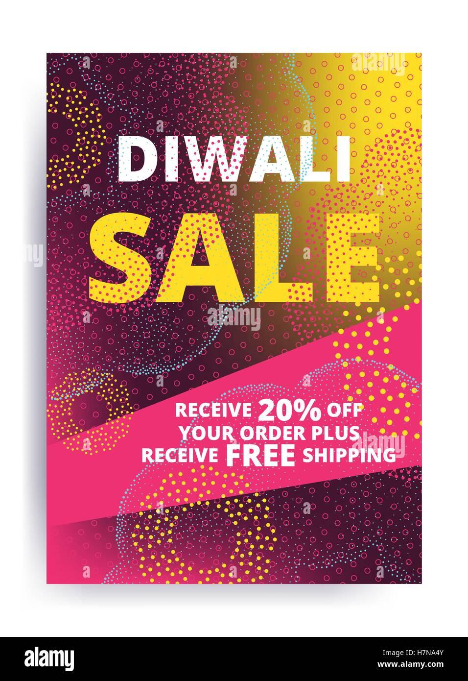 Vektor Diwali Festival Angebot Poster Design Vorlage Verkauf mit leuchtend rosa, gelbe Lichter, Feuerwerk Stockbild