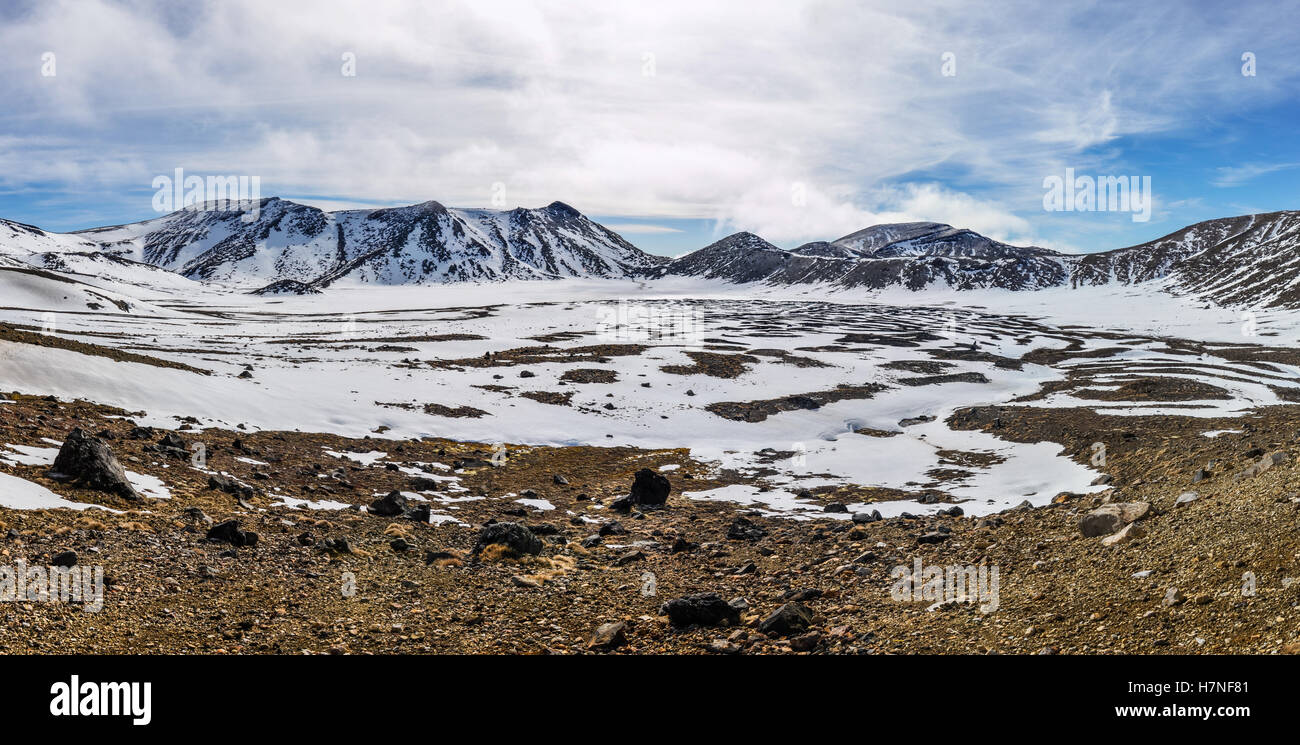 im Winter Tongariro Alpine Crossing, Neuseeland Stockbild