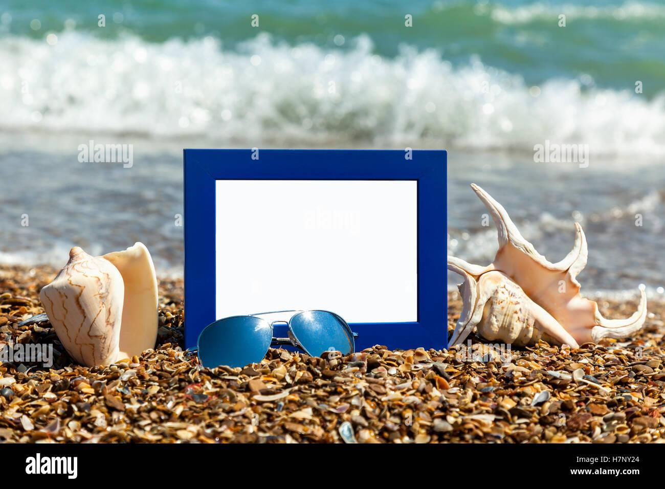 Fotorahmen auf dem Strand, Fotografie am Strand, Muscheln ...