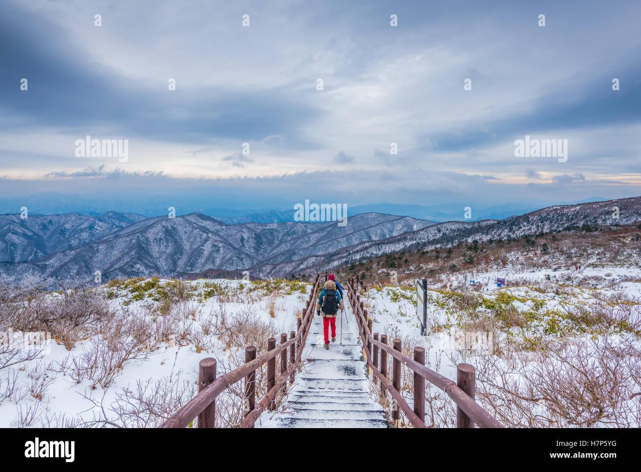 Wanderer im Winterberge, Winter Landschaft weißen Schnee des Berges in Korea Stockbild