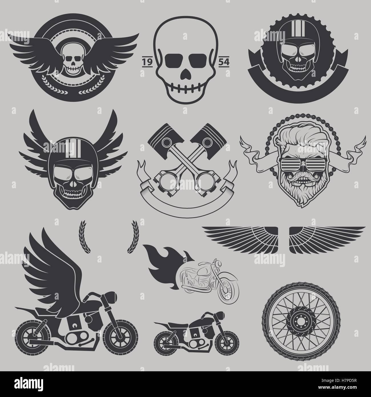 Motorrad-Rennen, Motorradclub, Biker-Club, Motorrad-Shop lo Vektor ...