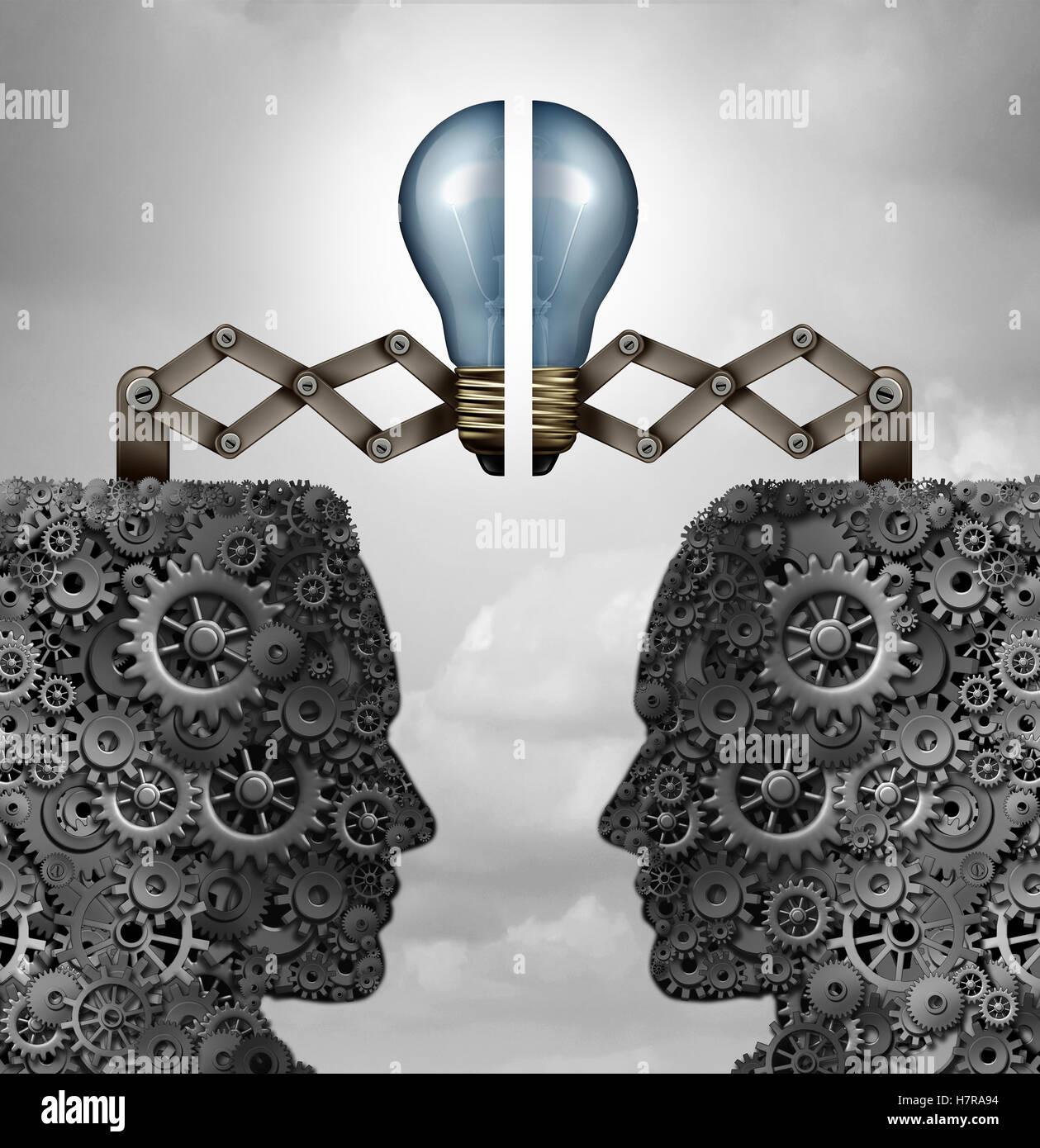 Konzept der Kreativität Partnerschafts- und kreative Gruppe wie ein Haufen von Getriebe und Zahnräder Stockbild