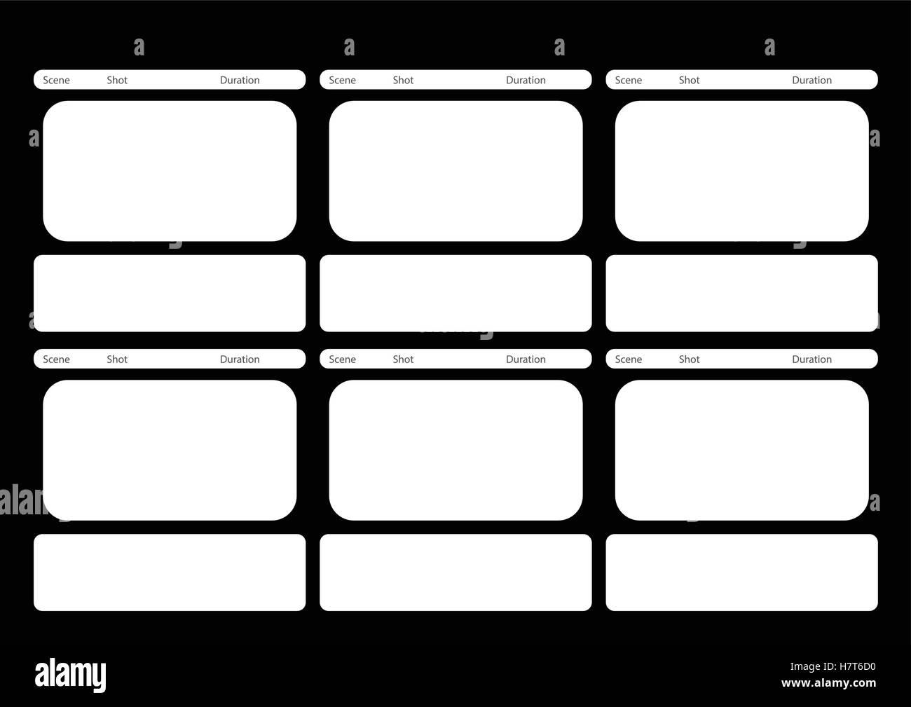 HDTV schwarz klassisch 6 Frame Storyboard Vorlage Vektor Abbildung ...