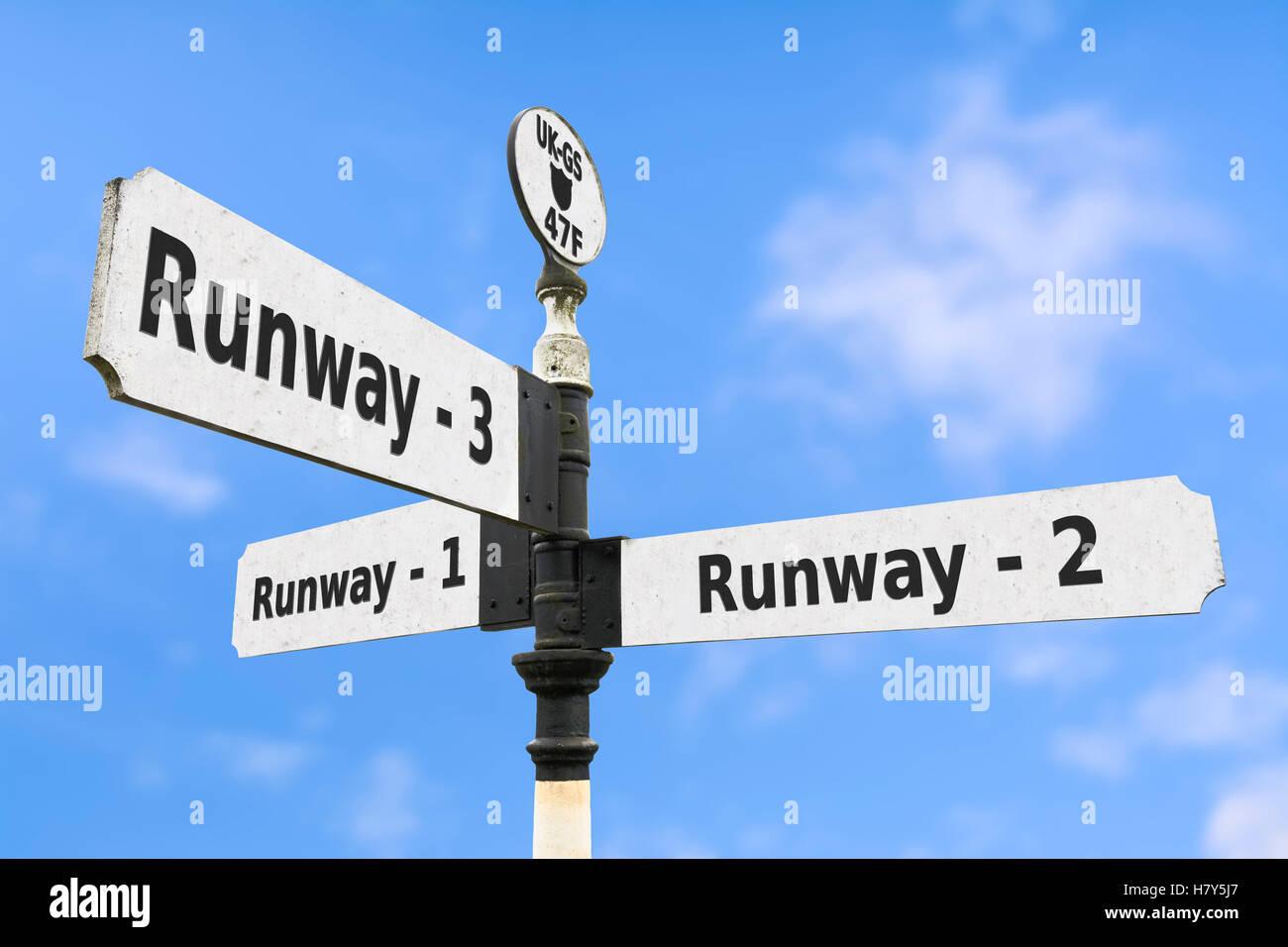 Ausbau des Flughafen Start-und Landebahnen Konzept Zeichen. Stockbild