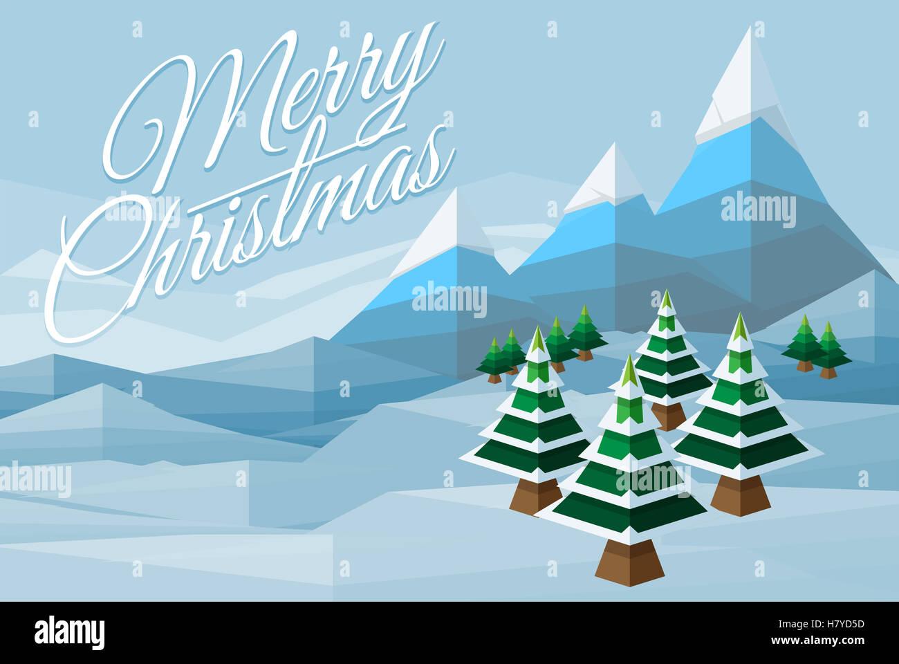 Abstrakte Weihnachten Polygon Schnee Winter Wunderland Landschaft ...