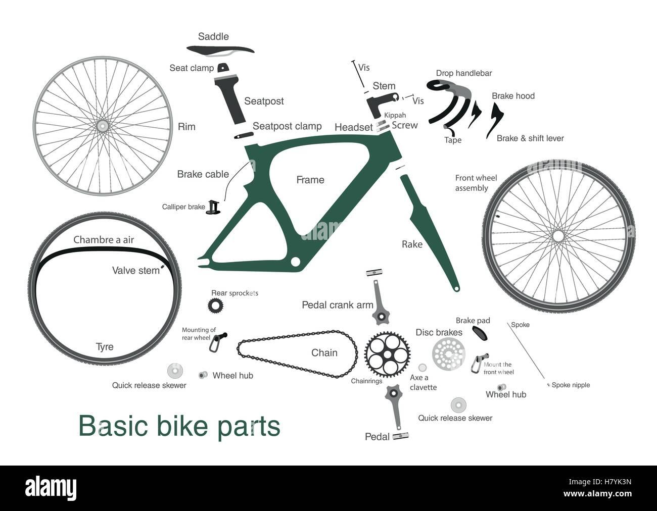 infografik mit den namen der wichtigsten fahrradteile vektor abbildung bild 125382873 alamy. Black Bedroom Furniture Sets. Home Design Ideas