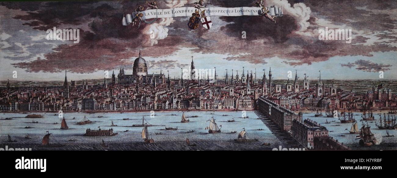Vereinigtes Königreich. London. Panoramablick auf die Stadt. Kupferstich von Martin Engelbrecht, 1750. Farbe. Stockbild
