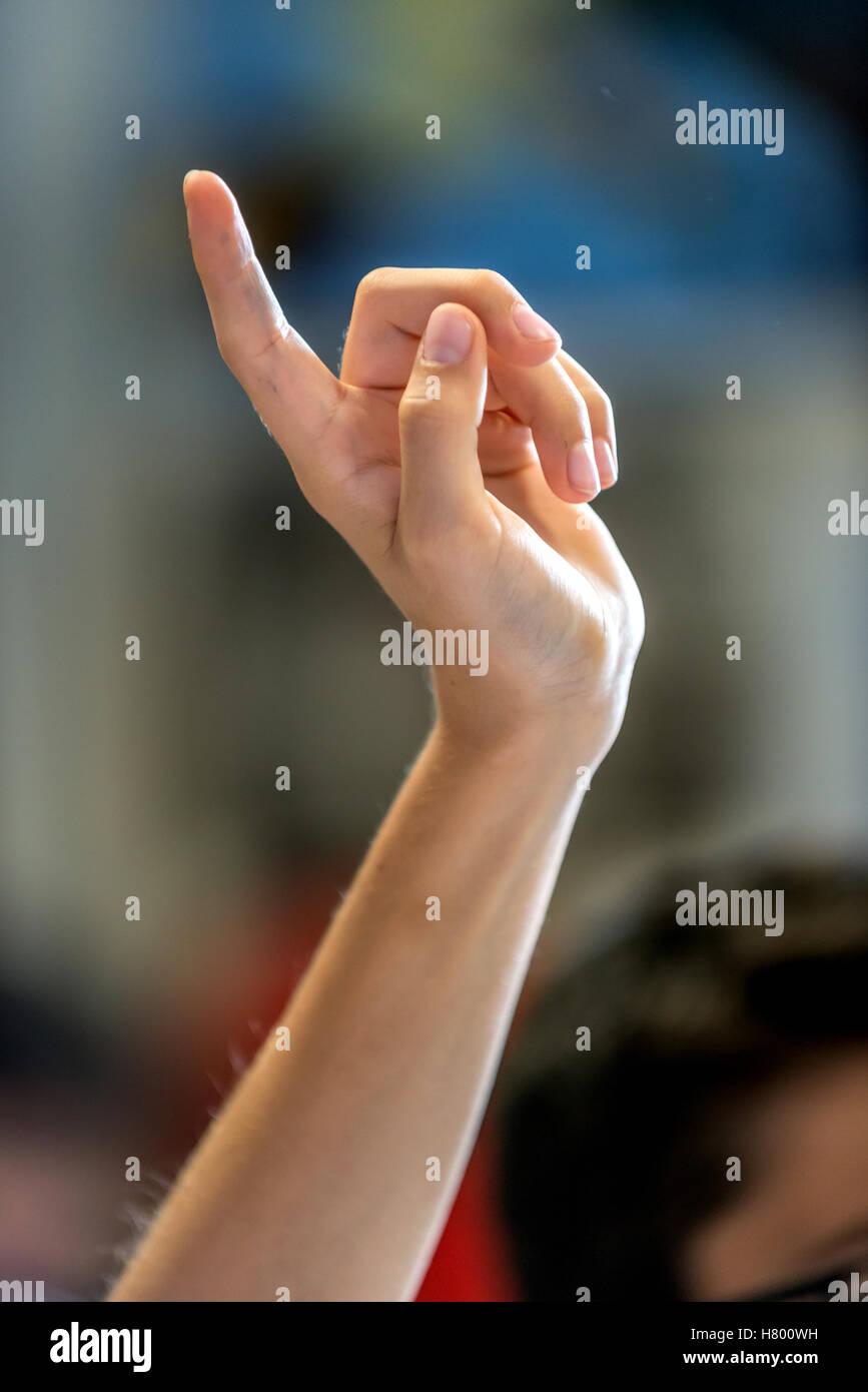 Kinder heben ihre Hände in der Klasse eine Frage des Lehrers. Stockfoto