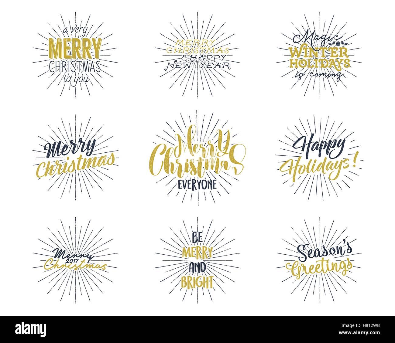 Satz Von Weihnachten Neujahr 2017 Schriftzug Wünsche