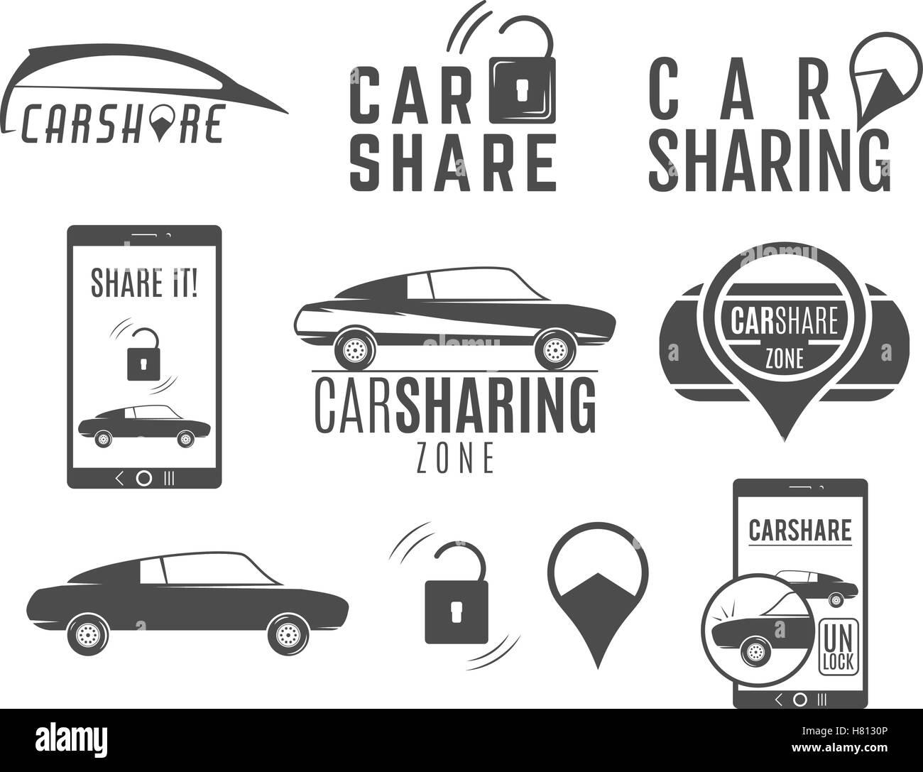 Auto-Anteil-Logo-Designs gesetzt. Car Sharing Vektor Konzepte ...