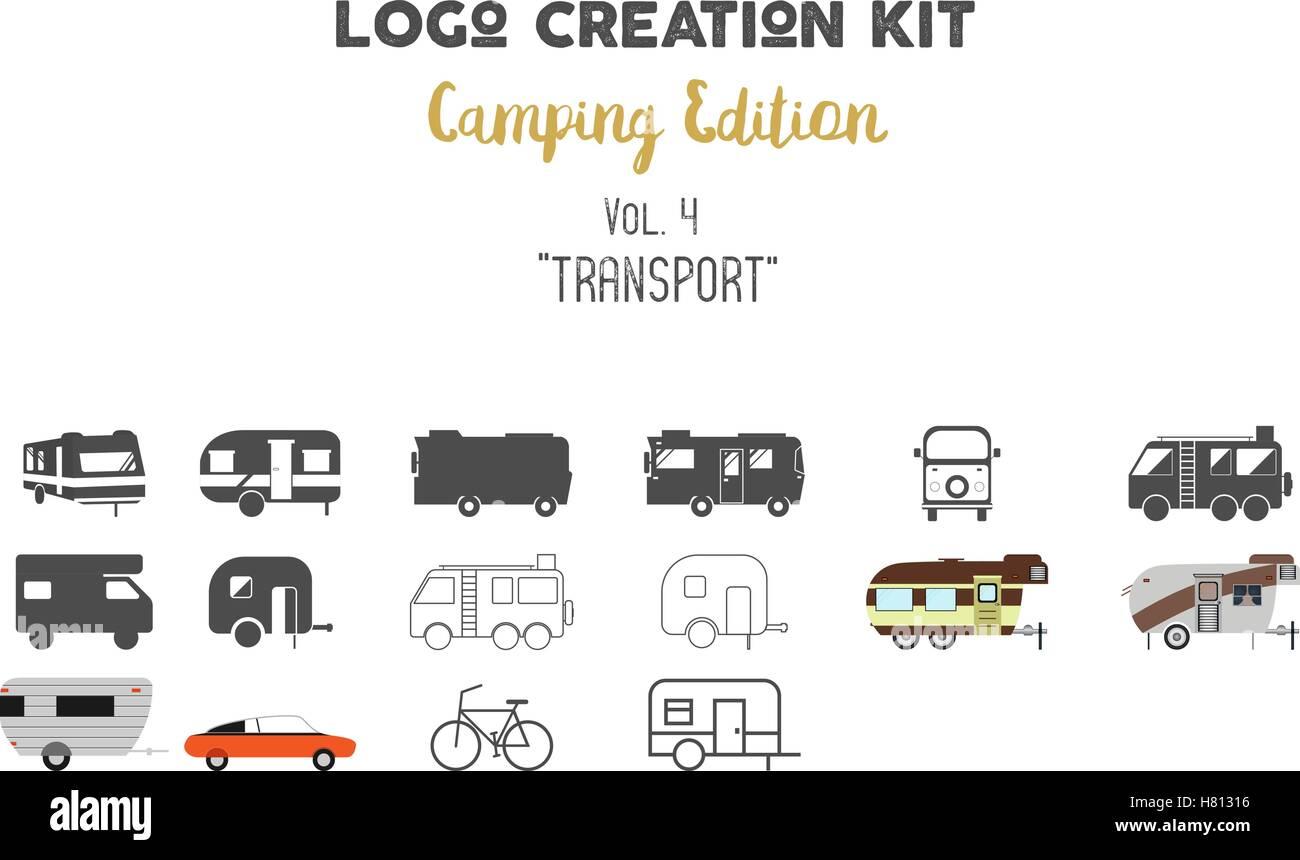 Logo Erstellung Kit Bundle Camping Edition Eingestellt Transport