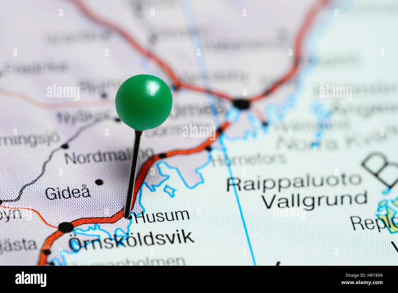 Husum Karte.Husum Fixiert Auf Einer Karte Von Schweden Stockfoto Bild