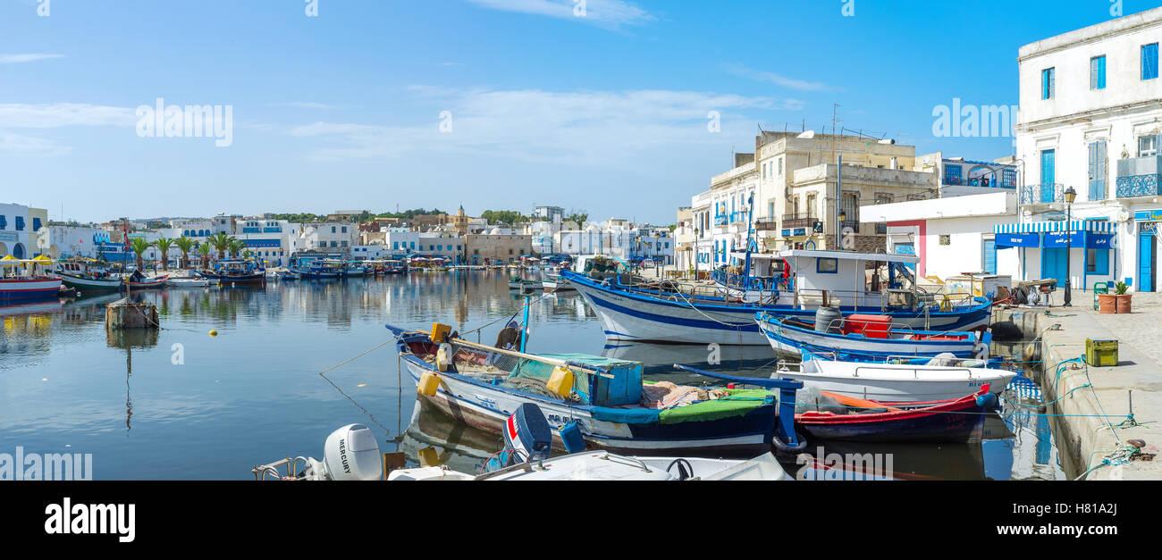 Der alte Hafen Bizerte erinnert der französischen oder italienischen Städten Stockbild
