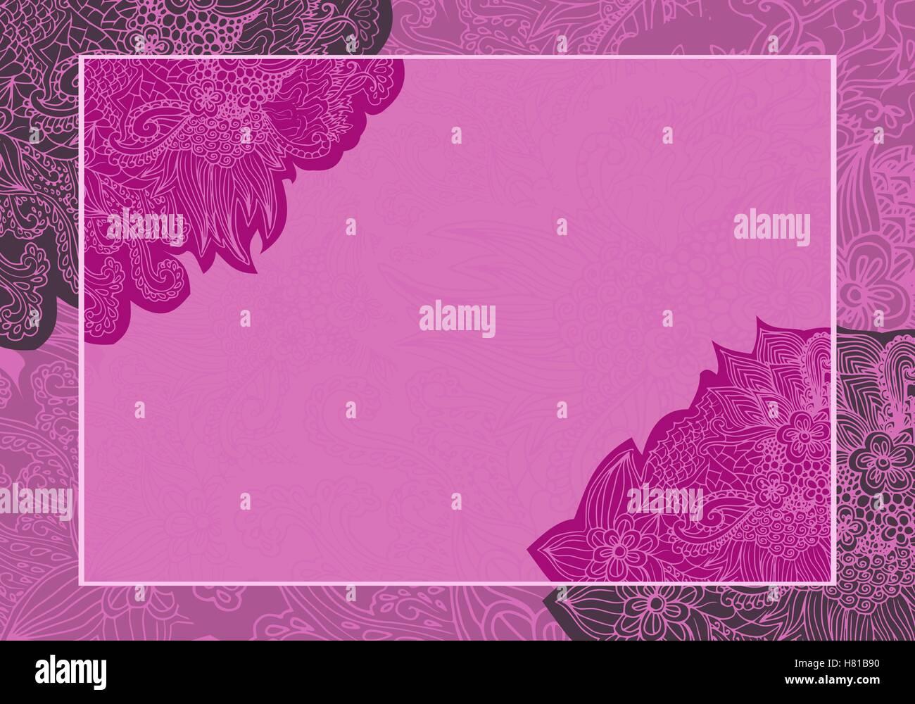 Vektor Floral Valentine Hochzeitskarte Einladung Rosa Lila