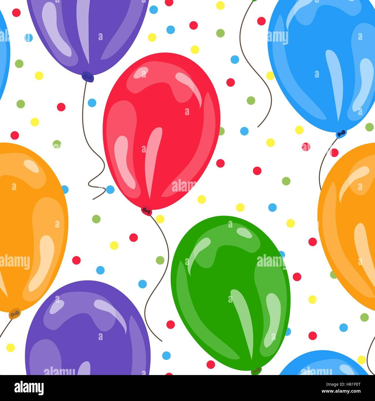 Nahtlose Muster Mit Bunten Luftballons. Design Konzept Für Geburtstag  Grußkarten, Wallpaper, Geschenkkarte. Vektor Fittings
