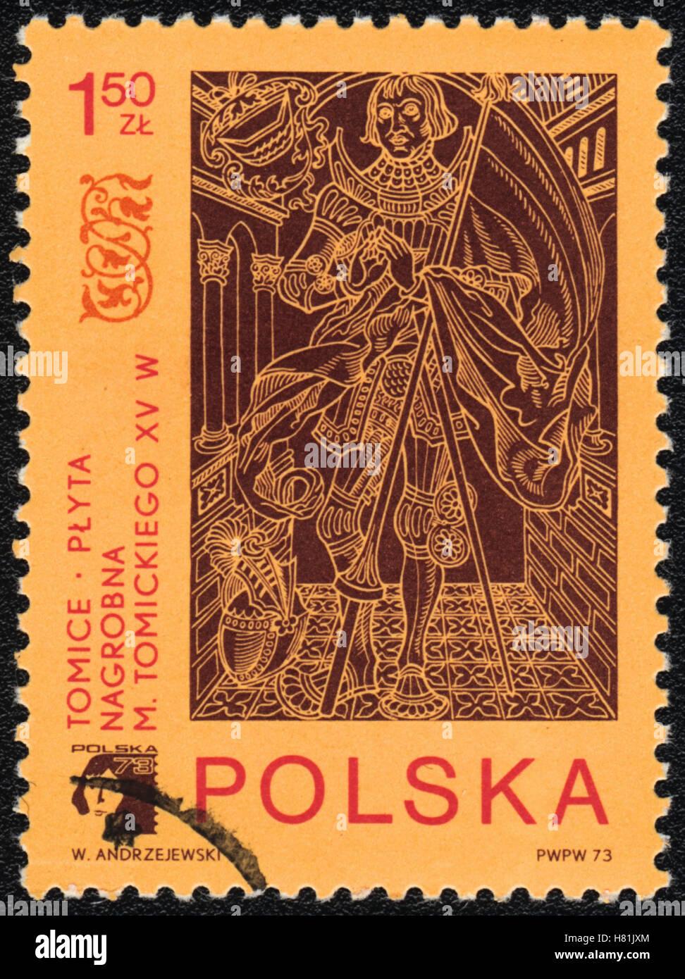 Die Briefmarke gedruckt in Polen zeigt Grab Messingplatte M. Tomicki XV c, 1973 Stockbild