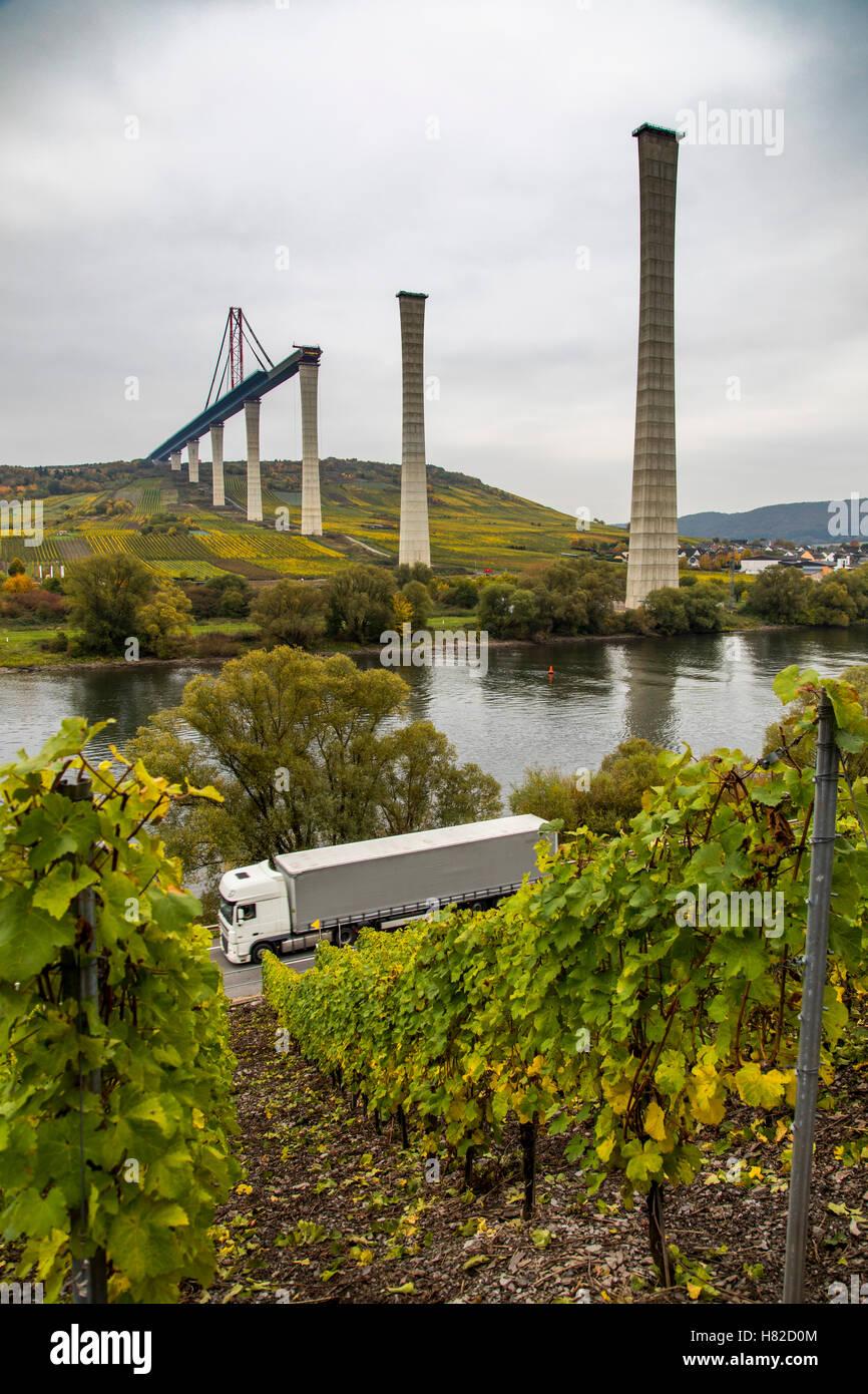 Baustelle der Mosel Talbrücke, eine Straße Brücke über die Mosel in der Nähe der Ortschaft Zeltingen-Rachtig, Stockfoto