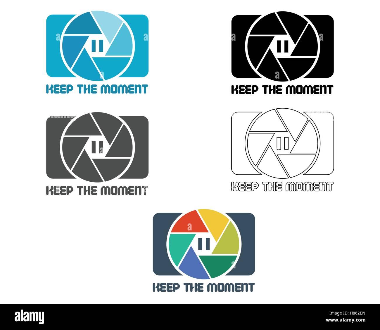 Verschluss-Symbol oder Logo-Design-Vorlage. Kamera und Objektiv ...