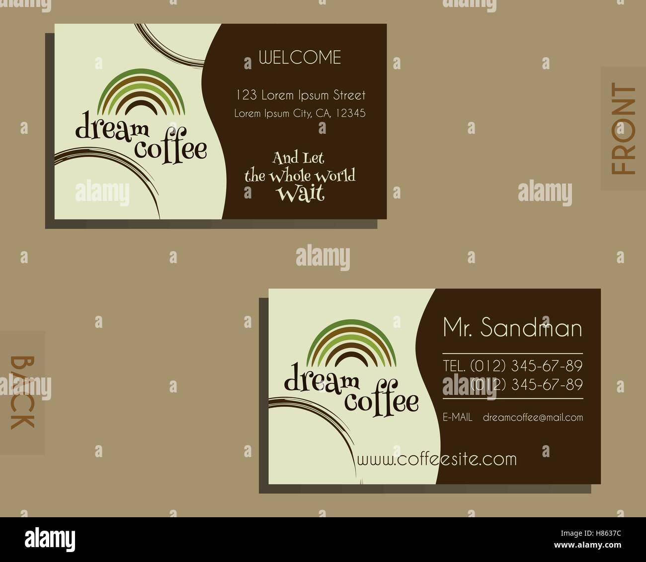 Elemente Der Marke Identität Visitenkarte Vorlage Café