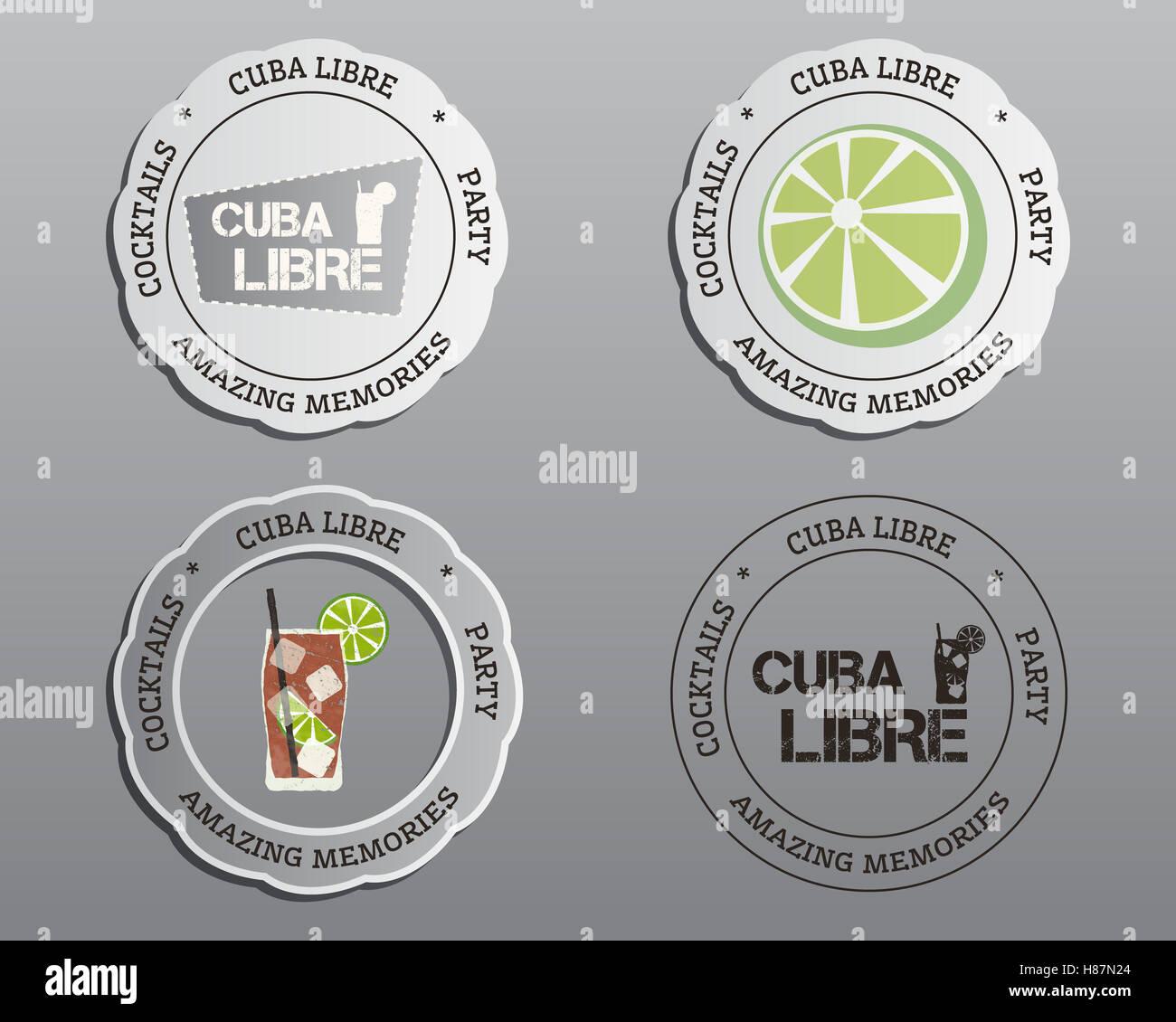 Sommer-cocktail-Party-Abzeichen, Etiketten und Logo-Layout-Vorlagen ...
